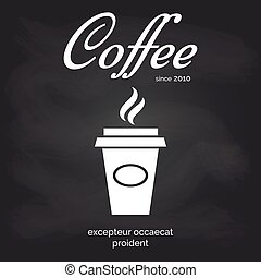 咖啡茶杯, 海報, 去, 黑板, 拿