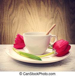 咖啡茶杯, 由于, 紅色, 鬱金香