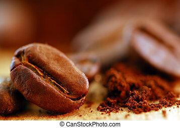 咖啡豆, 以及, 地面, 咖啡