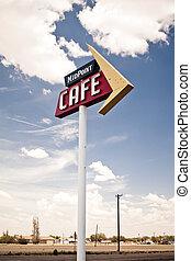 咖啡馆, 签署, 向前, 具有历史意义, 路线66, 在中, texas.