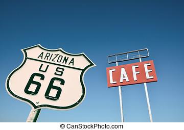 咖啡馆, 签署, 在中, arizona.