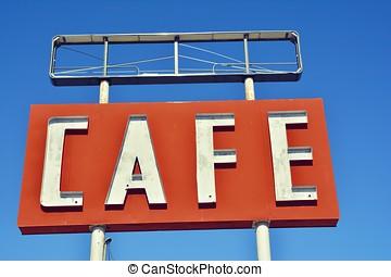 咖啡馆, 签署, 在中, texas.