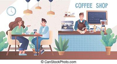 咖啡, 喝, 年轻, 商店, 夫妇