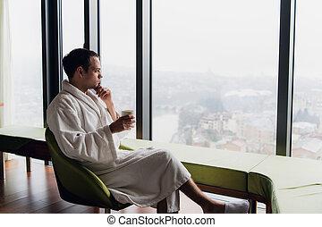 咖啡, 或者, 商业, 旅馆, bathrobe, 假期, 全景, 窗口, 喝, 摩天楼, 商人, 观点。, 人, 早晨, 旅行, 奢侈