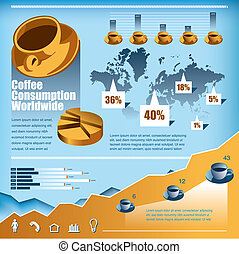 咖啡, 矢量, 集合, infographics