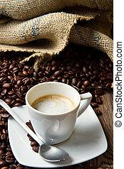 咖啡, 袋子, 豆, 杯, 桌子, 烤, 粗帆布, 乡村