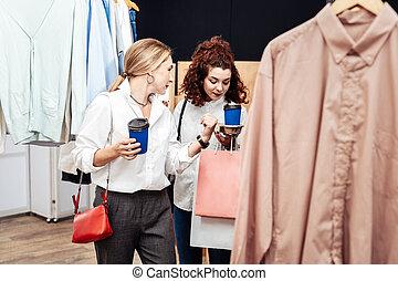 咖啡, 购物中心, 妈妈, 女儿, 喝