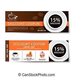 咖啡, 附單, 折扣, 樣板, 設計