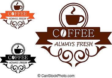 咖啡, always, 新鮮, 矢量, 標簽