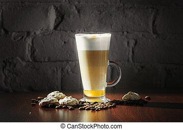咖啡,  latte, 黑色, 背景, 杯子