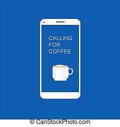 咖啡, smartphone, 二, 插圖, 叫