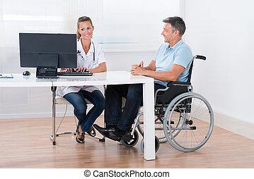 咨詢, 醫生, 輪椅, 人, 坐