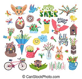 咲く, 特徴, 春, 白, アイコン, ∥あるいは∥, 幸せ, かわいい, 平ら, イラスト, 動物, birdhouse, ベクトル, 隔離された, 漫画, セット, 花, 鳥