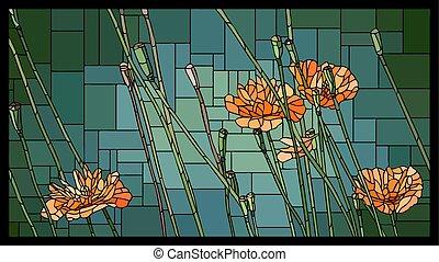 咲く, buds., ステンドグラスの窓, ベクトル, ケシ, オレンジ
