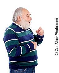 咳をすること, 人, シニア, ひげ, 白