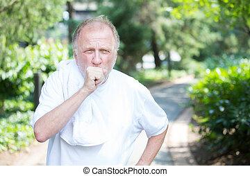 咳をすること, 老人