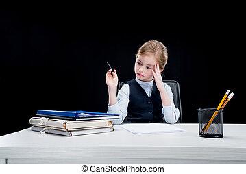 哀愁を秘めた, ビジネス, モデル, 黒, 仕事場, 肖像画, 女の子