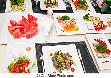 品种, 在中, 冷, 快餐, 在上, 广场, 白色, plates;, fish, 肉, 蔬菜