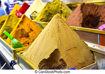 品种, 在中, 香料, 在上, the, arab, 街道市场, 出售摊