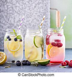 品種, ......的, 檸檬水, 在, 罐子