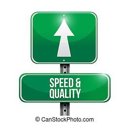 品質, スピード, 道, イラスト, 印