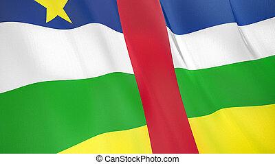 品質, 高く, アフリカ, 旗, イラスト, render., 中央である, 絹, 3d, republic., 振ること
