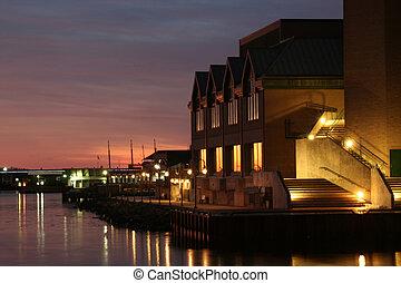 哈利法克斯, 濱水區, 在, 黃昏