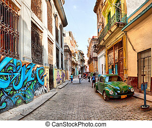 哈瓦那, 生鏽, 汽車, 14:, 場景, american 街道, cuba-may, 老