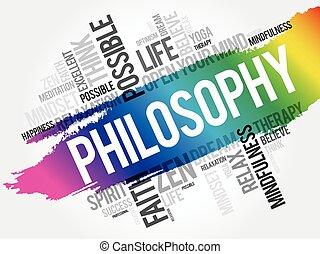 哲学, 単語, 雲, コラージュ
