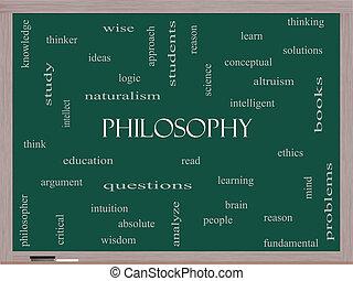 哲学, 単語, 雲, 概念, 上に, a, 黒板