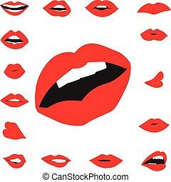 唇, セット, シルエット, 女の子