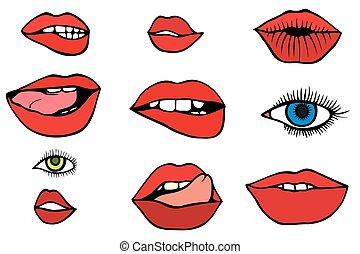 唇, セット, 目