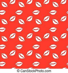 唇, パターン, 背景, 白い赤, seamless