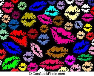 唇, プリント, カラフルである