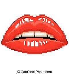唇, ベクトル, ピクセル, 赤, 女