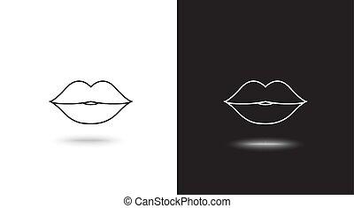 唇, ベクトル, 黒い背景, 白, アイコン