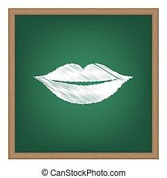 唇, 印, illustration., 白, チョーク, 効果, 上に, 緑, 学校, board.