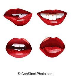 唇, 女, グロッシー, コレクション, 赤
