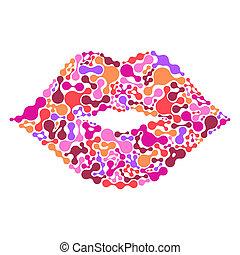唇, 白い背景