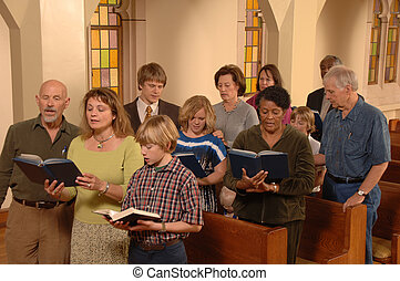 唱, 贊美詩, 在, 教堂