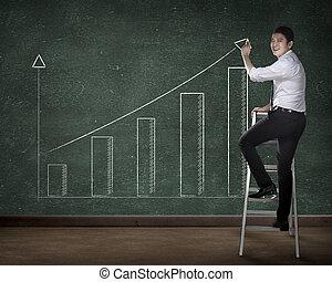商业人, 图, 图表, 在上, 板