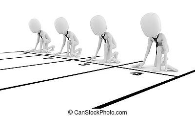 商业概念, 竞争, 背景, 商人, 白色, 人, 3d
