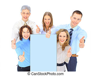 商业界人士的组, 握住, a, 旗帜, 广告, 隔离, 在怀特上