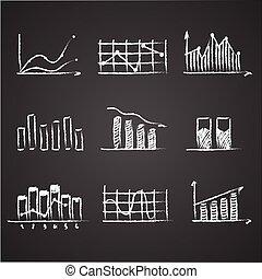 商业草图, 财政, 统计, infographics, 心不在焉地乱写乱画, 手, 画, 元素, 在上, 黑板, chalkboard., 概念, -, 图表, 图表, 箭
