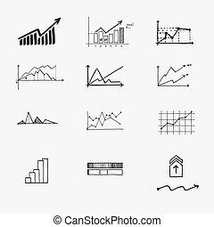 商业财政, 统计, infographics, 心不在焉地乱写乱画, 手, 画, elements., 概念, -, 图表, 图表, 箭, 签署