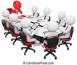 商业, 人们。, 会议, 3d, 白色