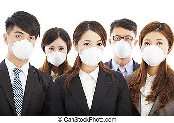商业, 人们, 戴着一种面具, 对于, 快车, 问题