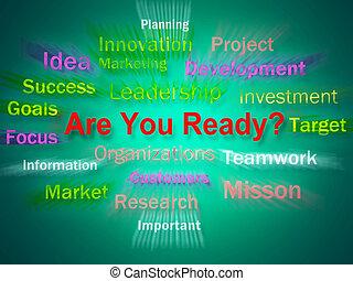 商业, 准备, 显示, 准备好, 你, brainstorm