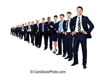 商业, 团体, 在一行中, 隔离, 结束, a, 白的背景