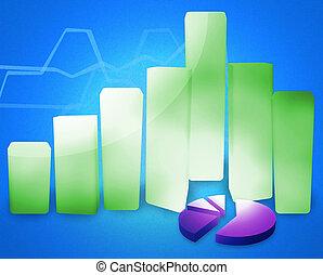 商业, 图表, 成功, 现代, 3d, render, 图表